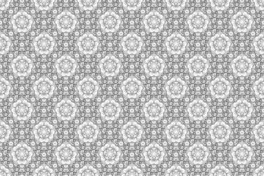 Raster seamless pattern of traditional ornamental background silhouette with white and black circular contoured mandala, stars and outline snowflakes elsments.