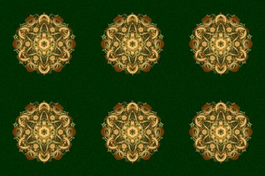 Raster gift voucher template with mandala ornament in gold color on a green background.