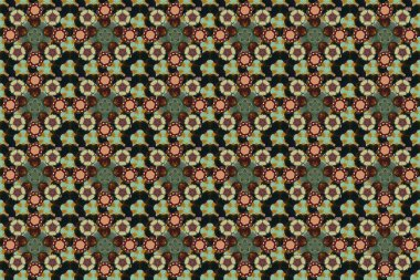 Seamless classic raster brown, green and gray pattern. Traditional orient ornament.