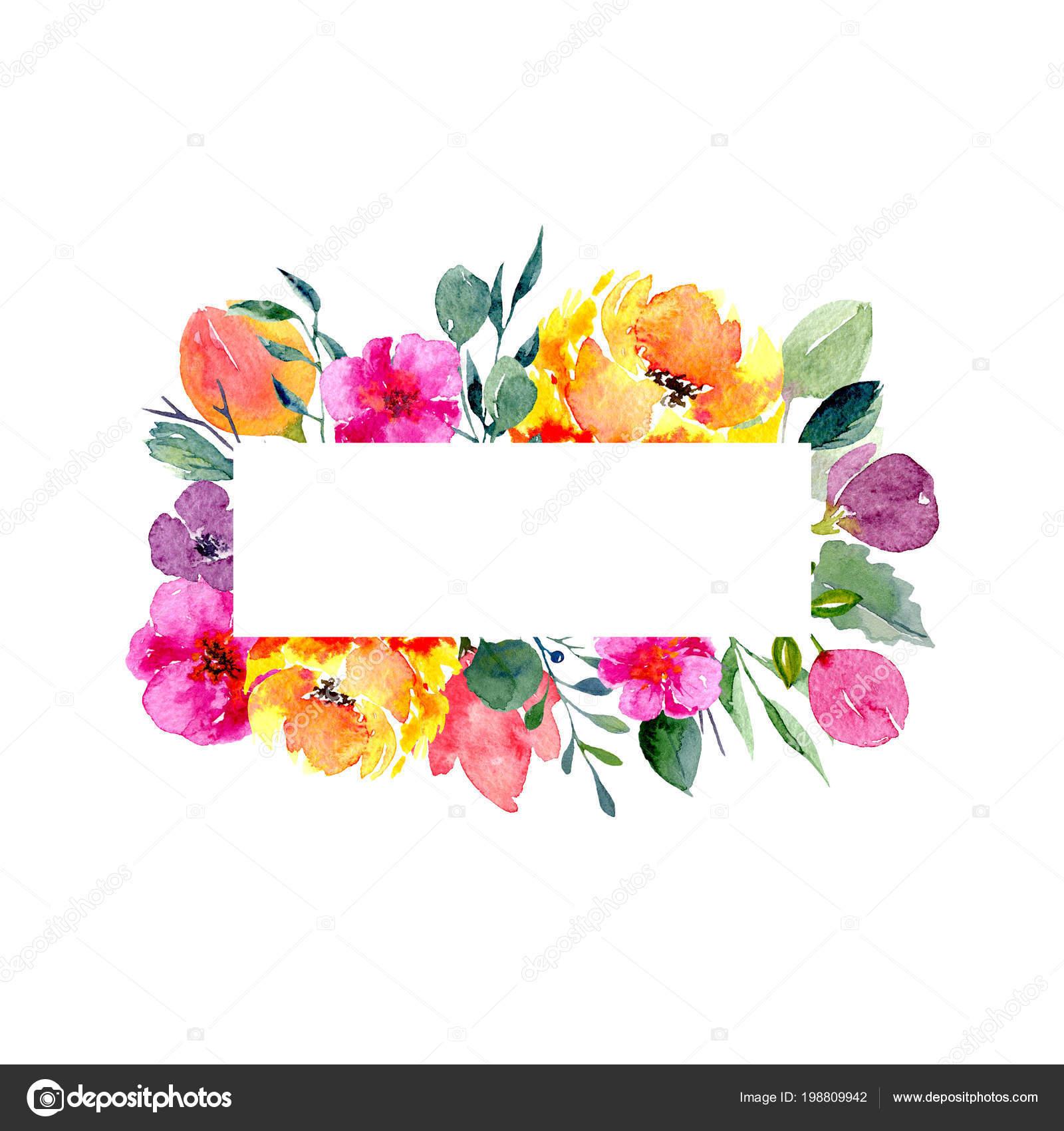 72e96fe2b13af Marco floral acuarela. Fondo con follaje fresco de primavera