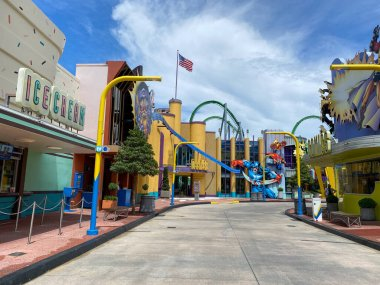 Orlando,FL/USA-8/30/20: The empty sidewalk in front of the Marvel area at Universal Studios Resort theme park.