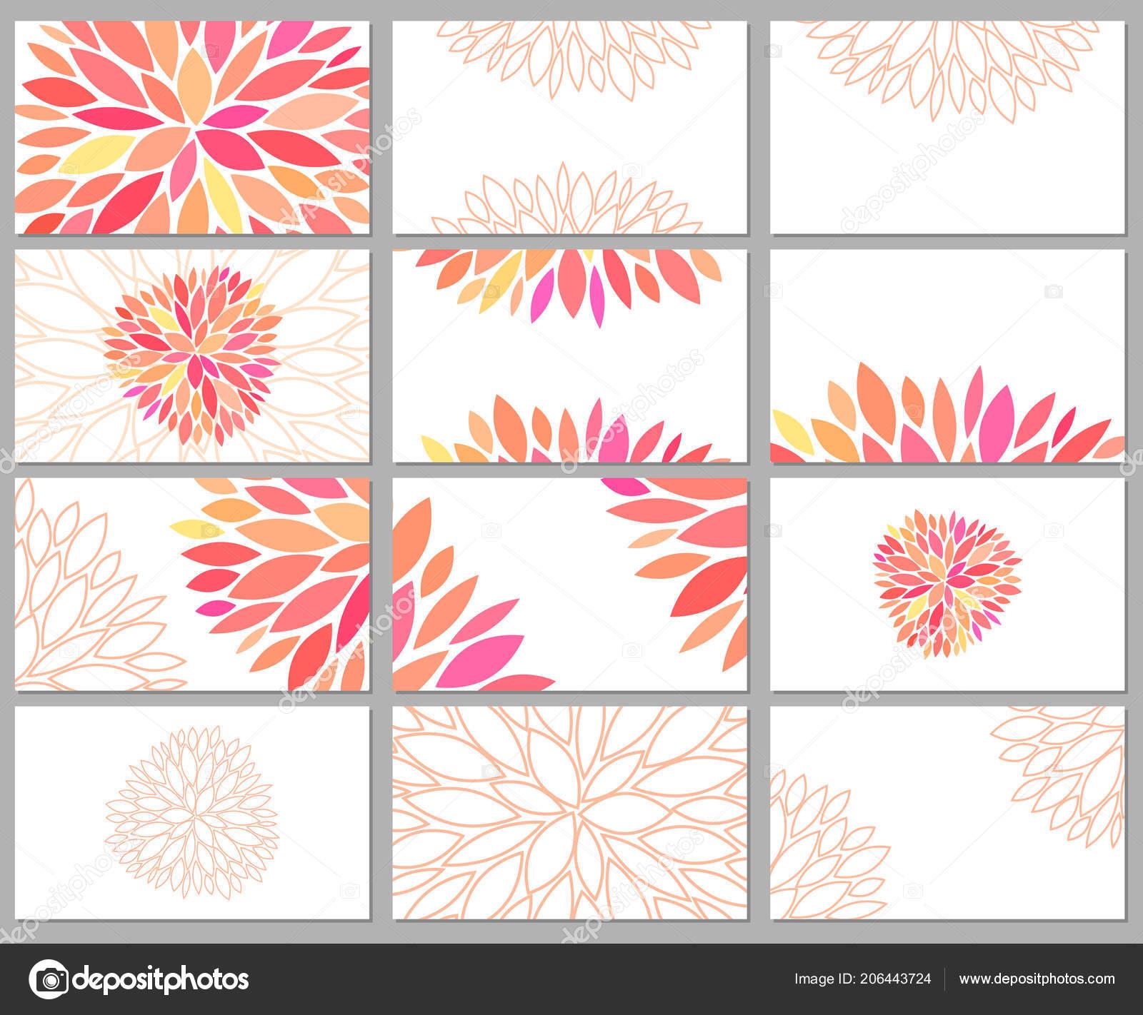 Gentle Beautiful Vector Set Business Cards Templates Pink Petals