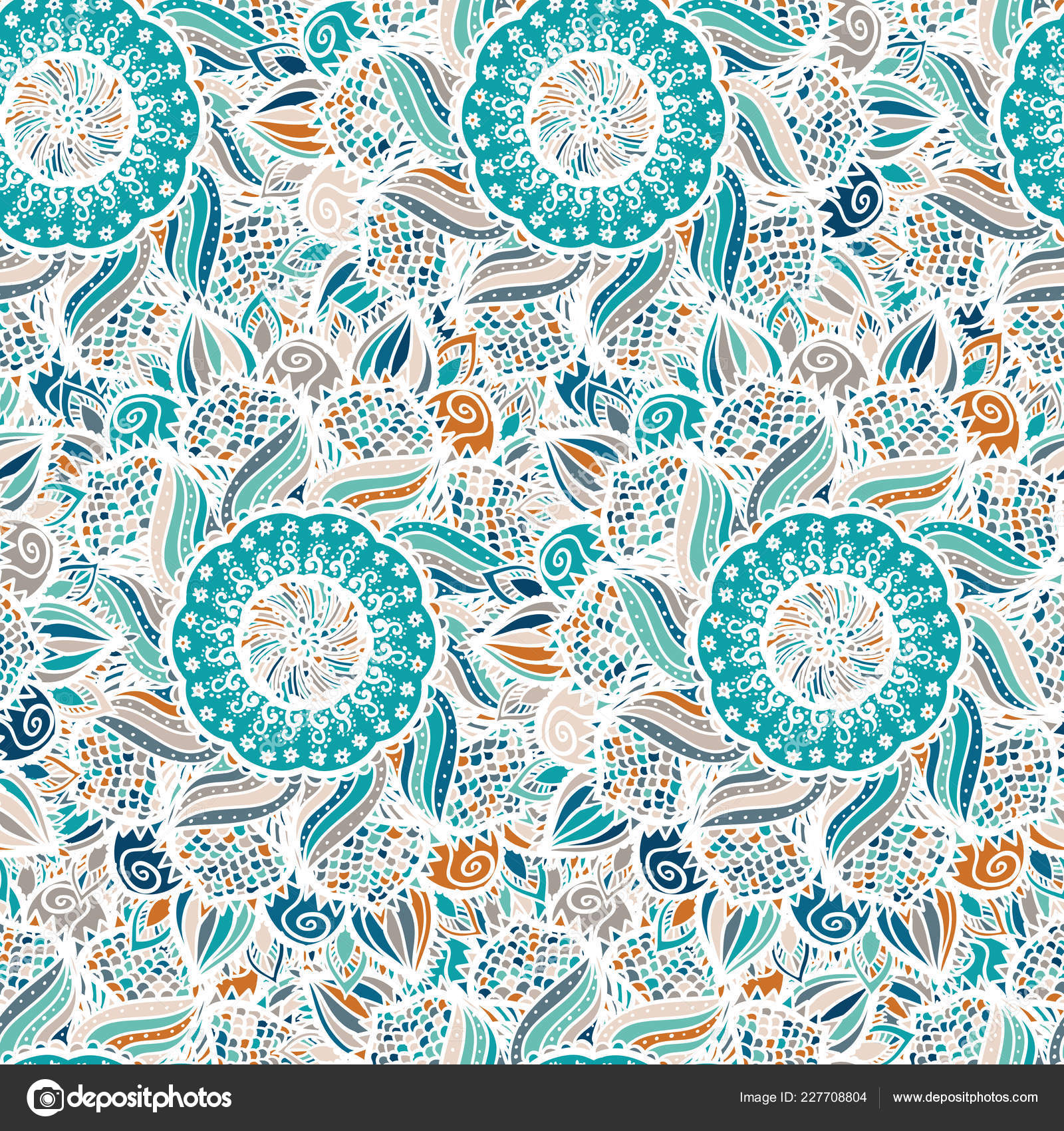 Patrón Abstracto Vector Floral Sin Fisuras Mandalas Coloridos Azul