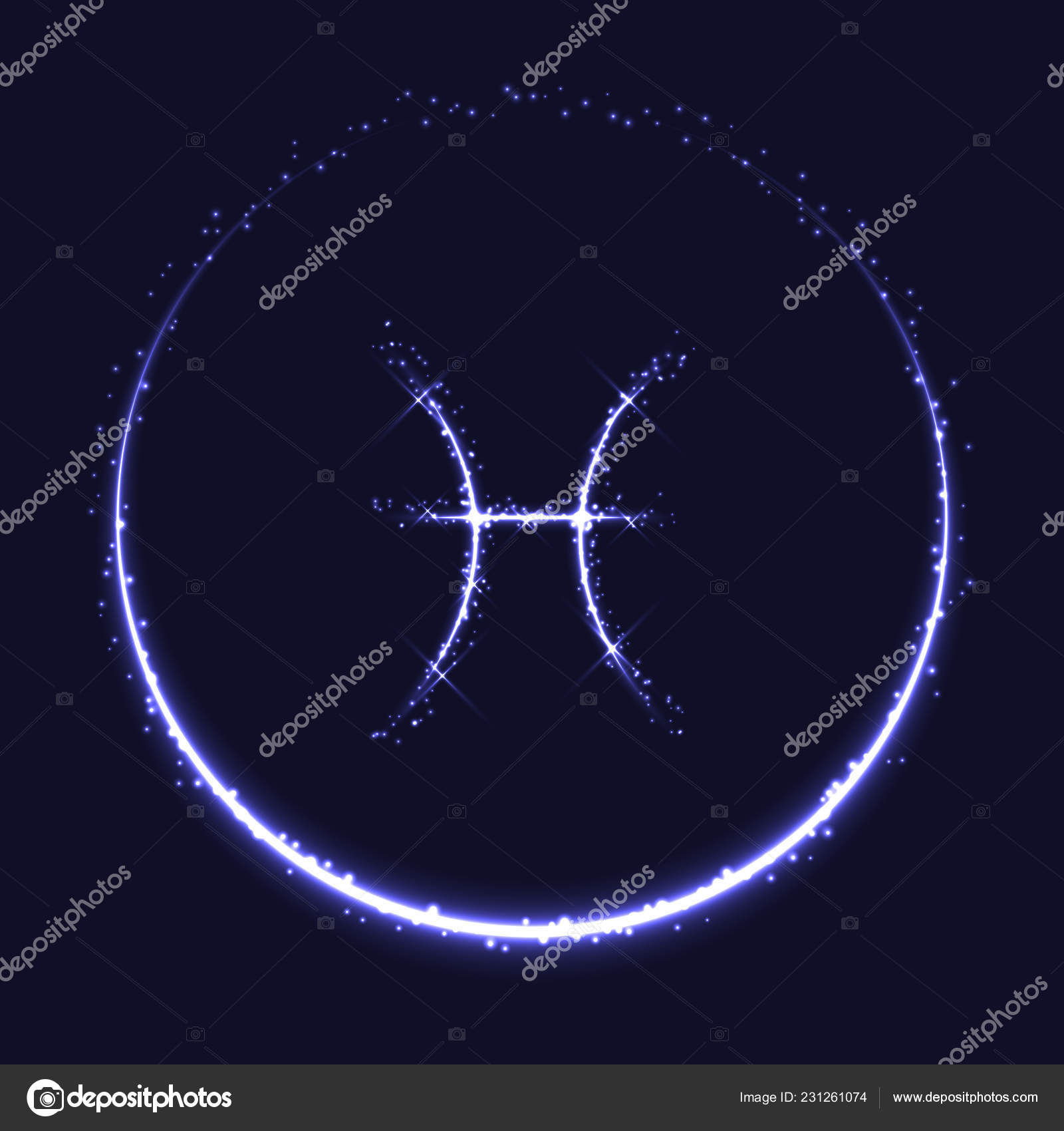 da17a8cbf Astrological symbol of Pisces. Abstract vector shiny western Zodiac  Horoscope sign and crescent moon on dark blue background.– stock  illustration