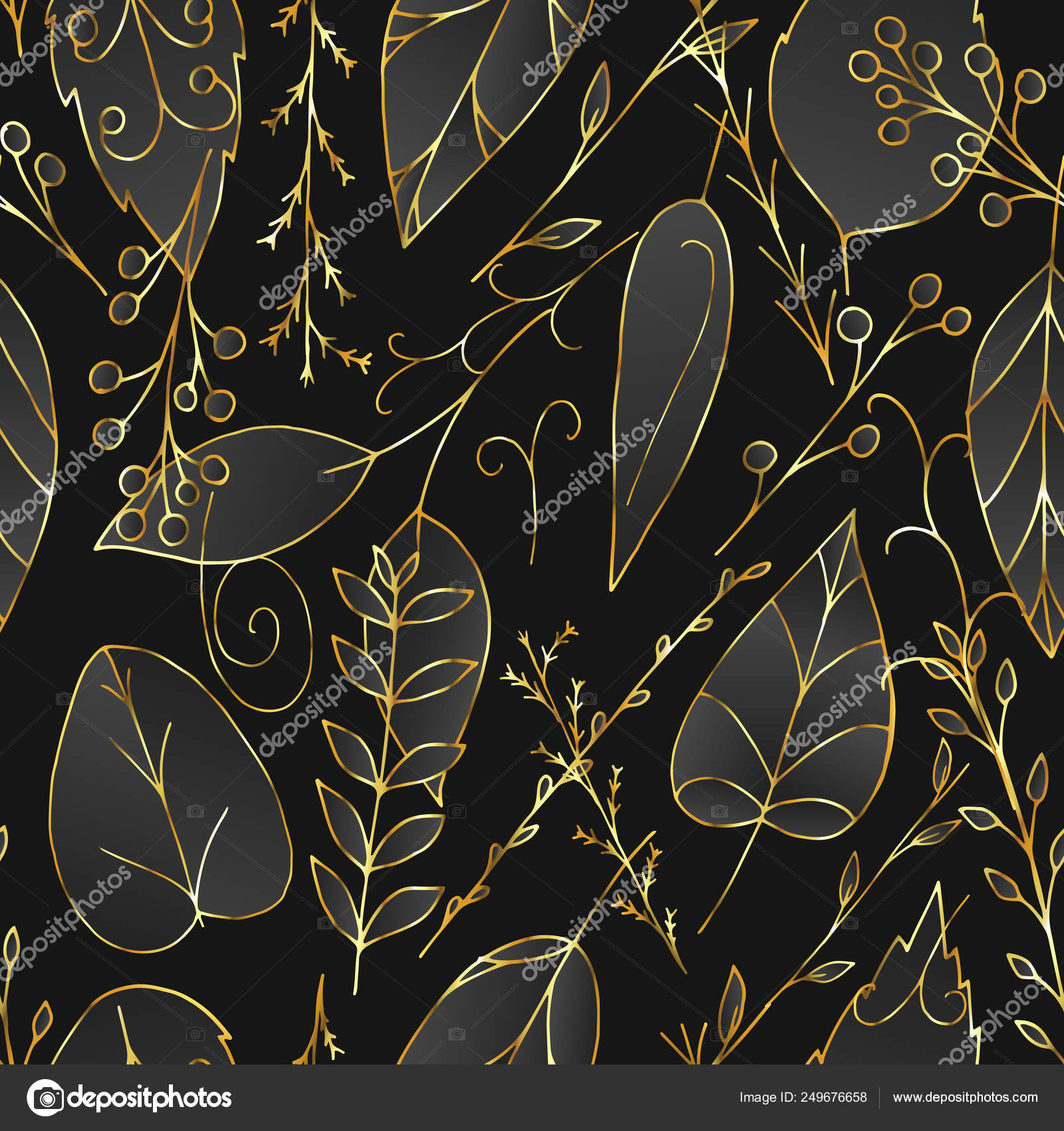 Black And Gold Floral Vector Seamless Pattern Stock Vector