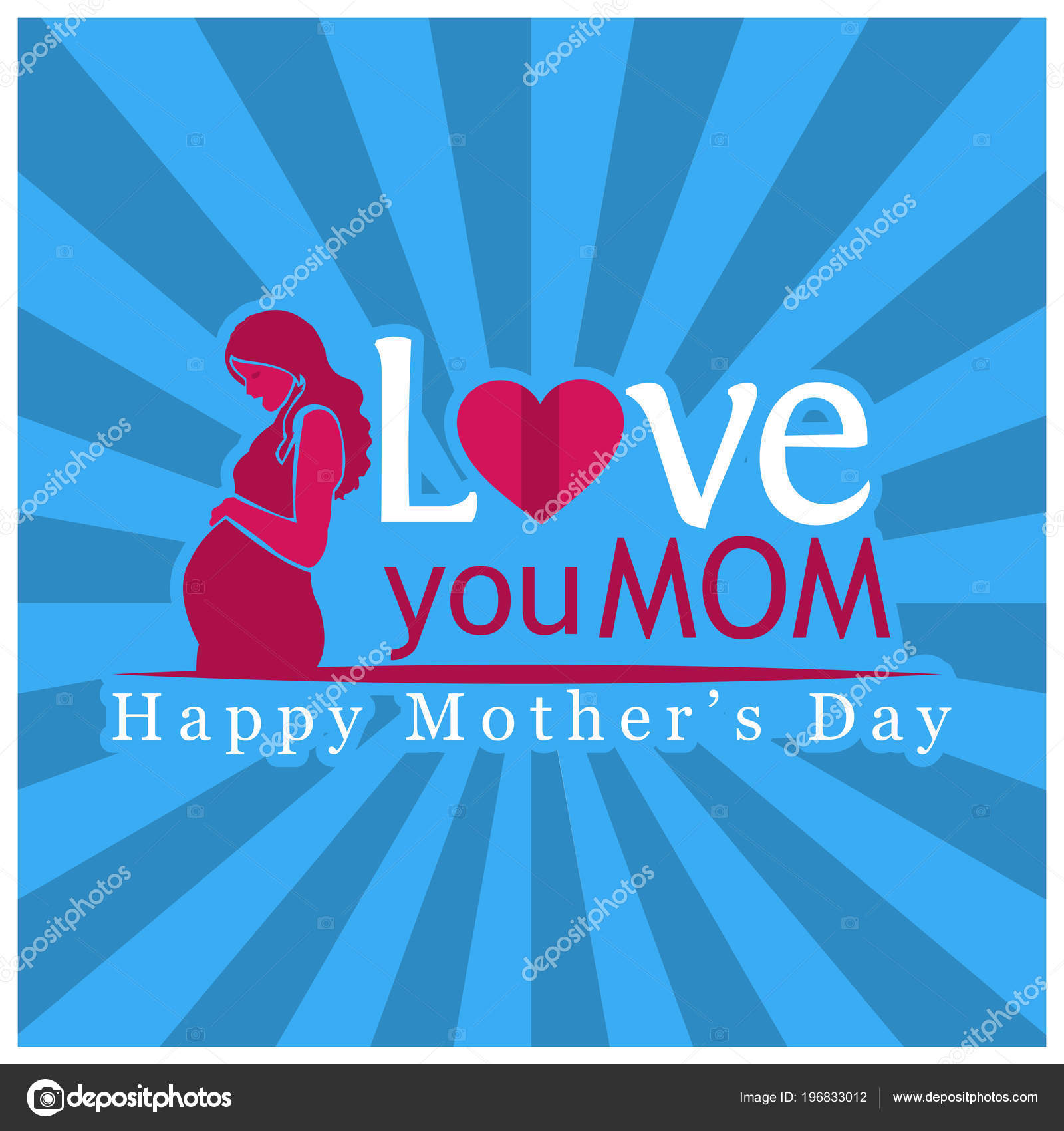 Love You Mom International Women Day Happy Mother Day Vector Stock Vector C Sarya 196833012