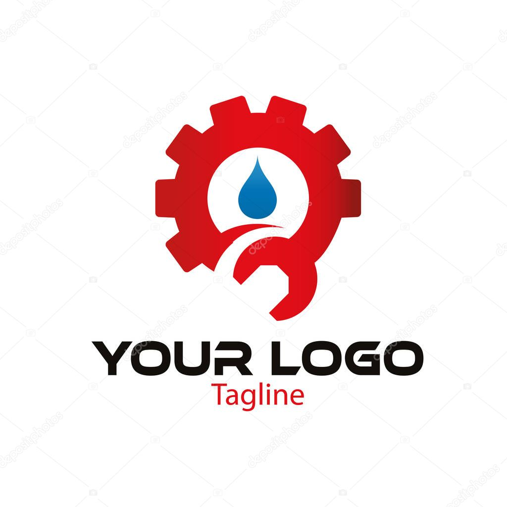 Gear, wrench and water logo design template