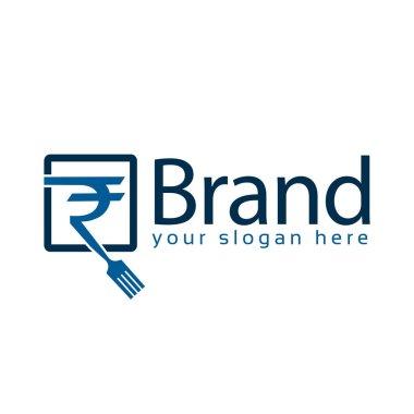 Fork Rupee logo. Restaurant Logo Vector, flat design.Keywords l