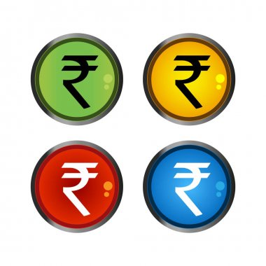 Rupee button, colorful icons, set icon. vector.