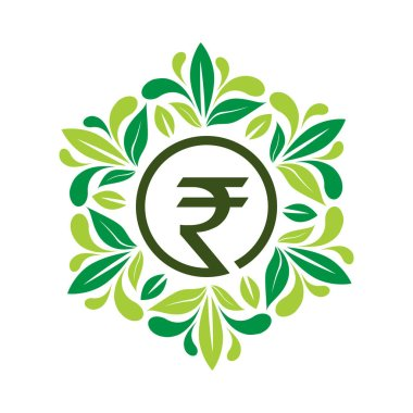 Rupee in Leafs frame, flat design. Vector Illustration on white background