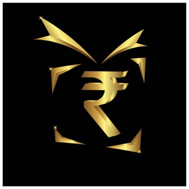 Rupee gift icon, Gold icon, Vector Illustration on white background.