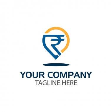 Rupee shield logo, flat design. Vector Illustration on white background