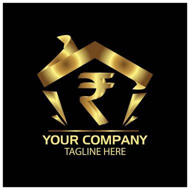 Rupee sign in house, Finance Logo Vector, flat design.