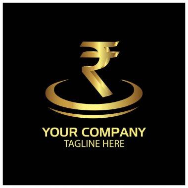 Rupee sign on circle, Finance Logo Vector. gold logo