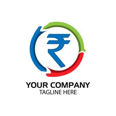 Rupee sign in circle, Finance Logo Vector, flat design.