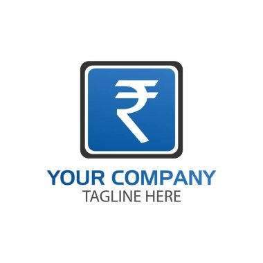 Rupee sign in rectangular, Finance Logo Vector,