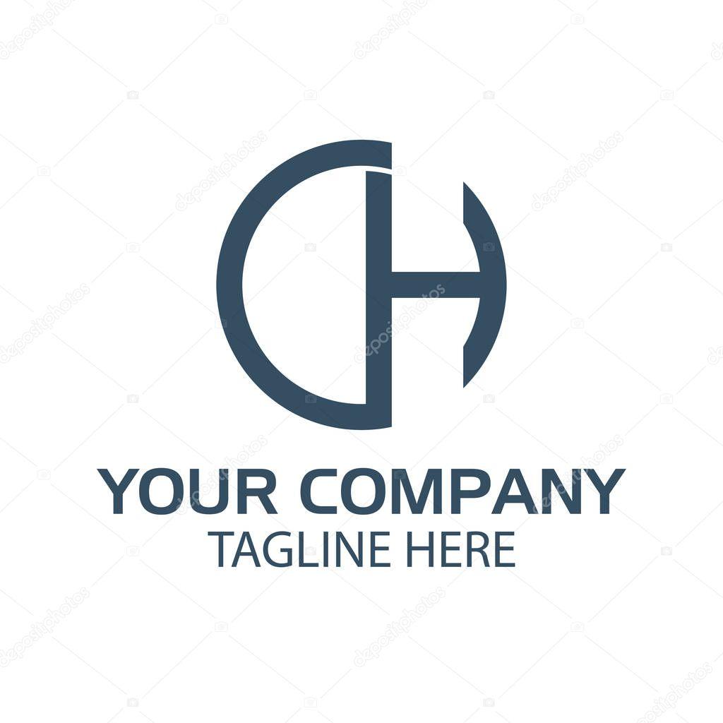 Letter CH. CH initial., flat design. technology logo
