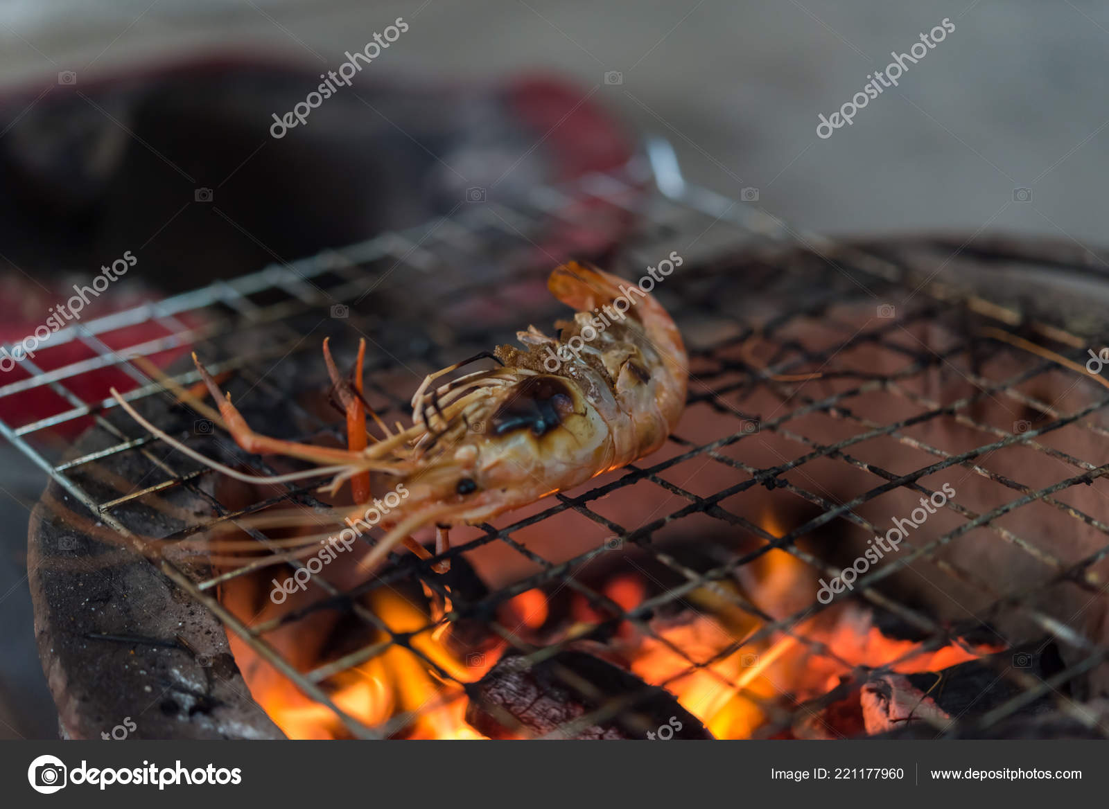 Grilled Shrimp Giant Freshwater Prawn Grilling Charcoal Sale Thai