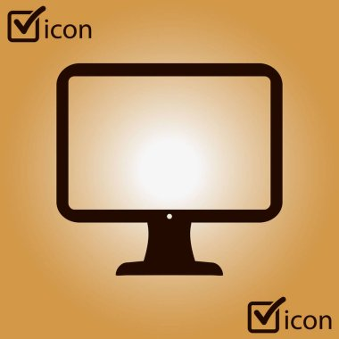 computer display sign icon. Flat design style, vector