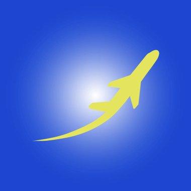 Airplane flight tickets air fly travel takeoff silhouette element. Plane symbol. Travel icon. Flat design. EPS 10.