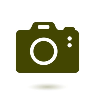 Photo camera simbol. DSLR camera sign icon. Digital camera. Flat design style.