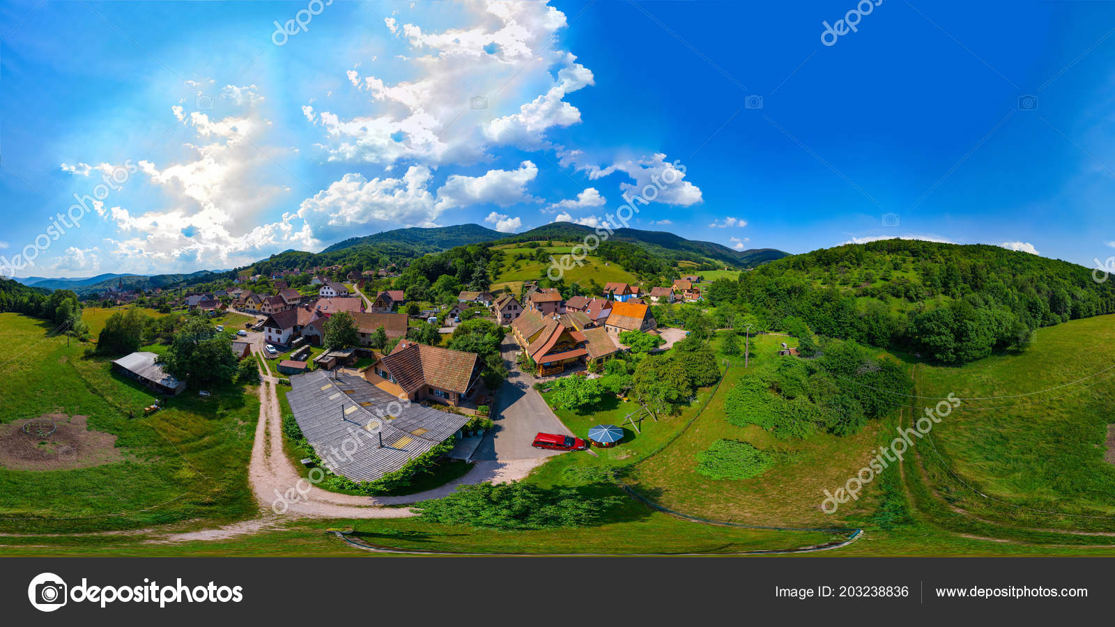360 Degree Spherical Panoramic View Little Village Breitenbach
