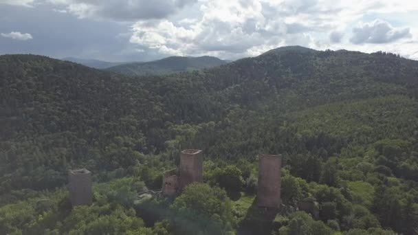 Ruins of Three castles near Colmar, Alsace. Aerial drone view. France