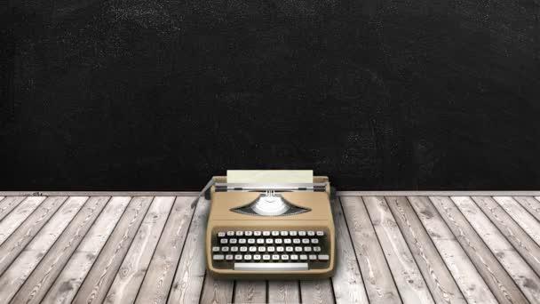béžové psací stroj s starý papír prázdný snímek s pozadím tabule