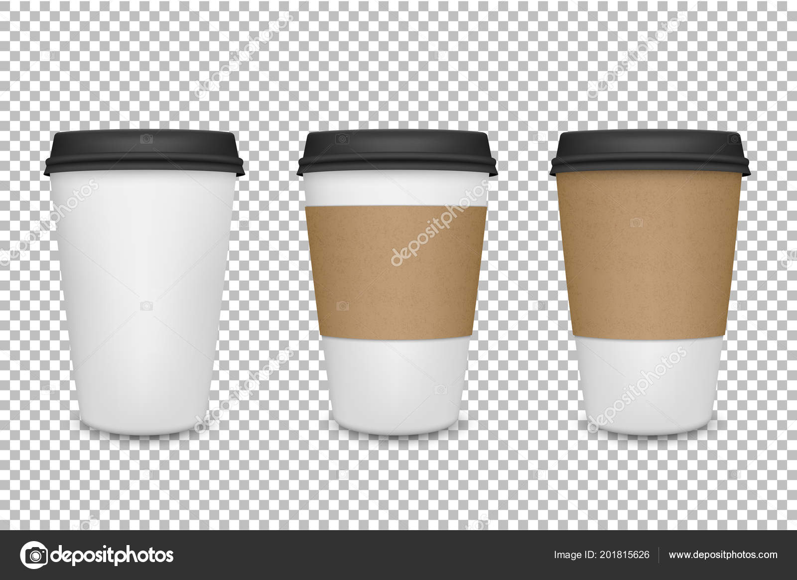 Vector Realistic 3d Paper Coffee Cup Icon Set Closeup On Transparency Grid Background Design Template