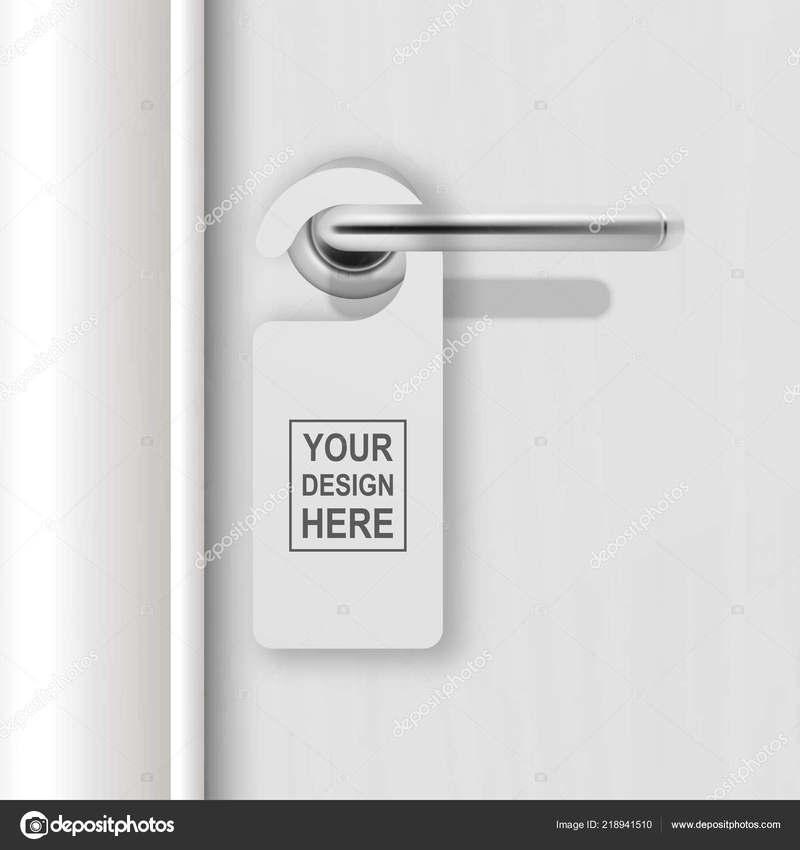 Vector Realistic Paper White Blank Door Hanger On White Realistic