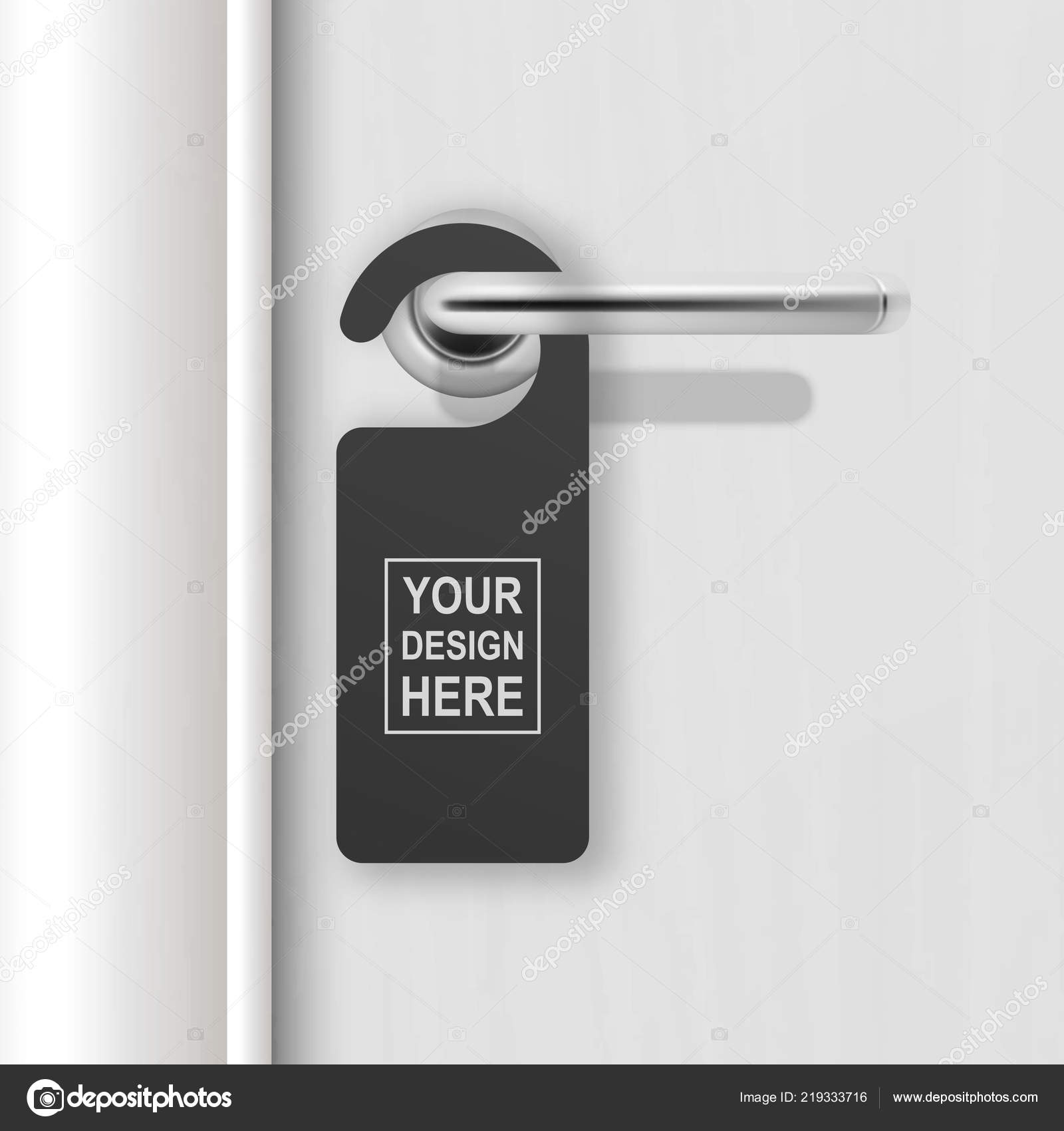 vector realistic paper black blank door hanger on white realistic