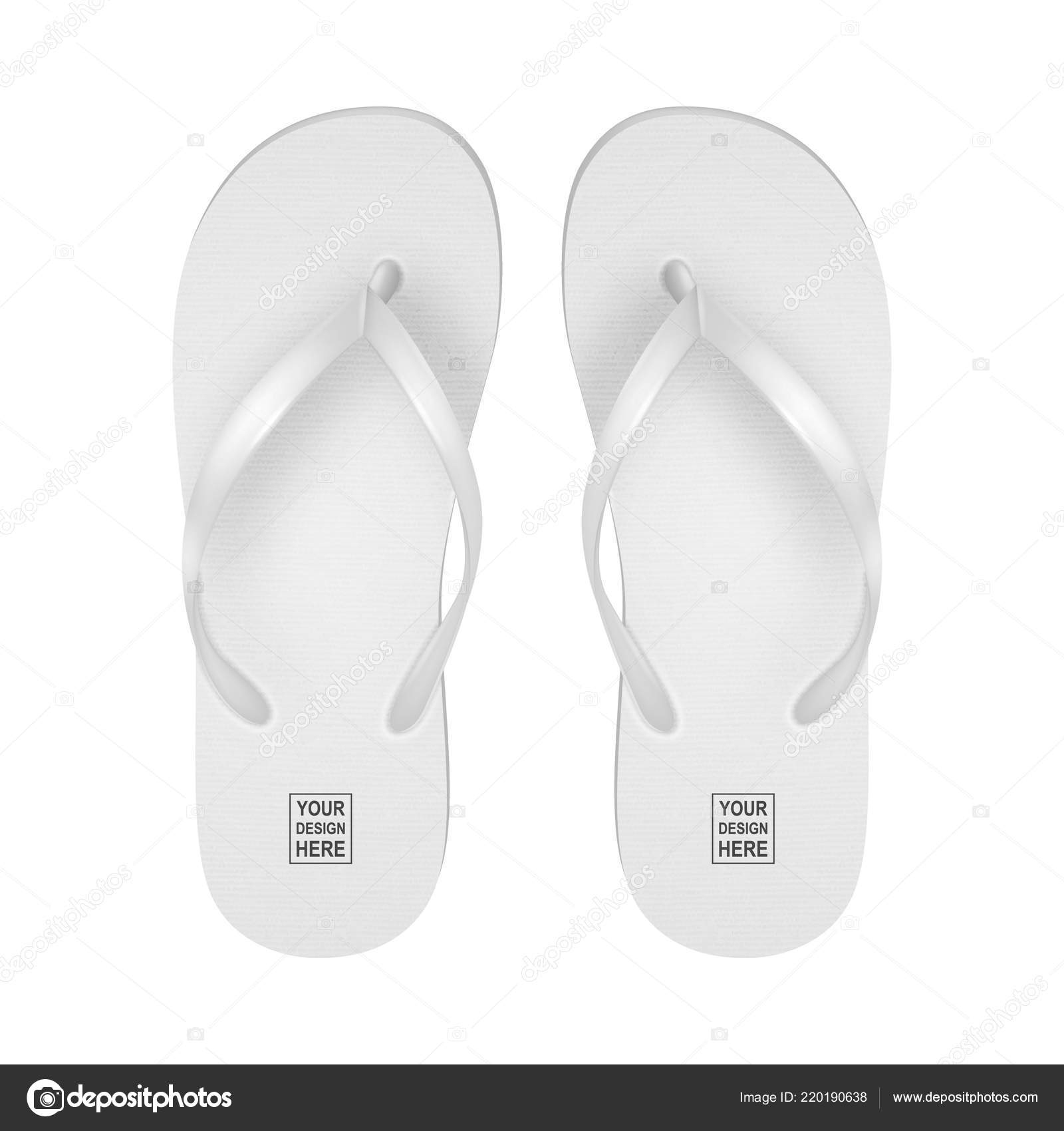 51780441e Vector Realistic 3d White Blank Empty Flip Flop Set Closeup Isolated on White  Background.