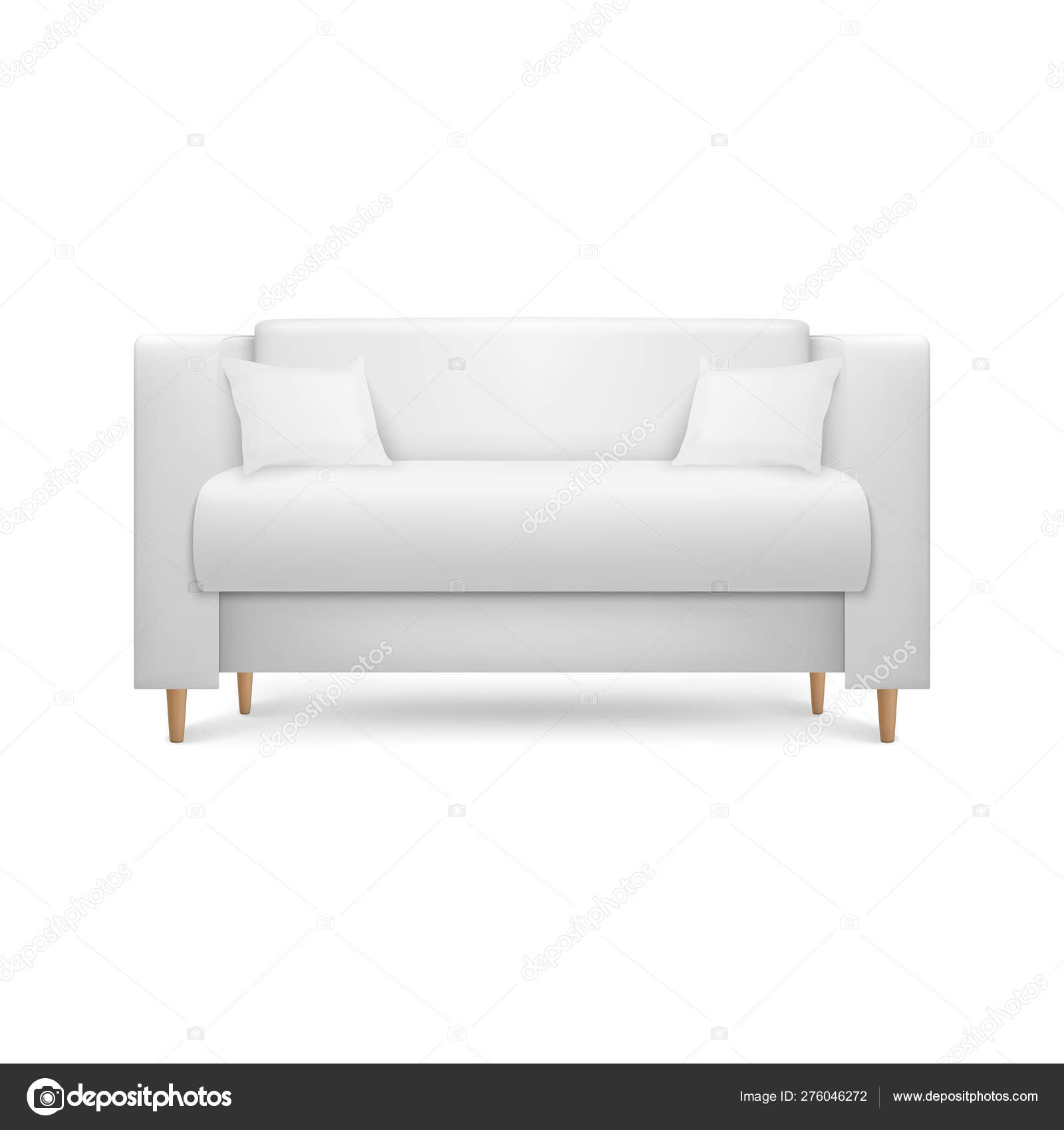 Vector 3d Realistic Render White Leather Luxury Office Sofa