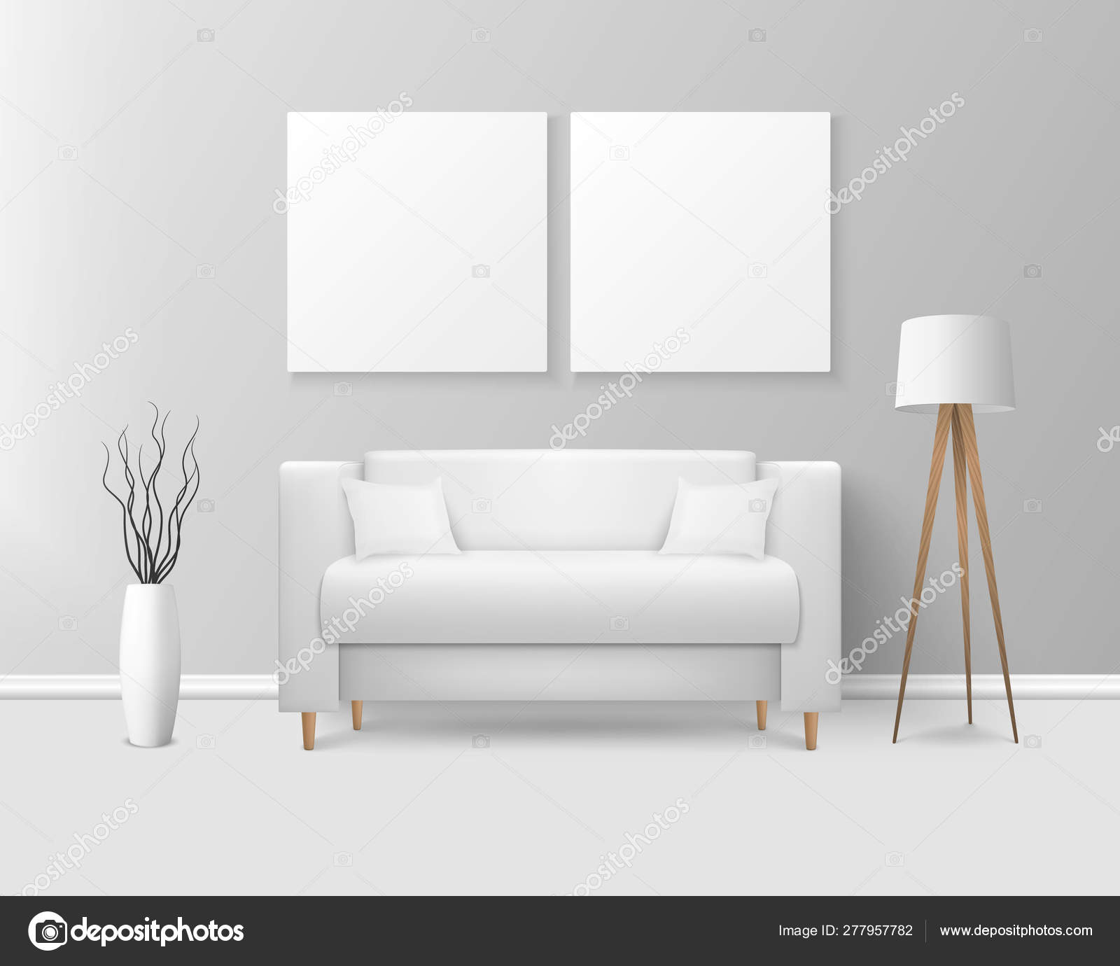 Vector 3d Realistic Render White Sofa Couch With Pillows In Simple Style In Modern Room Apartment Salon Art Gallery Living Room Reception Lounge Or Office Interior White Posters On The Wall