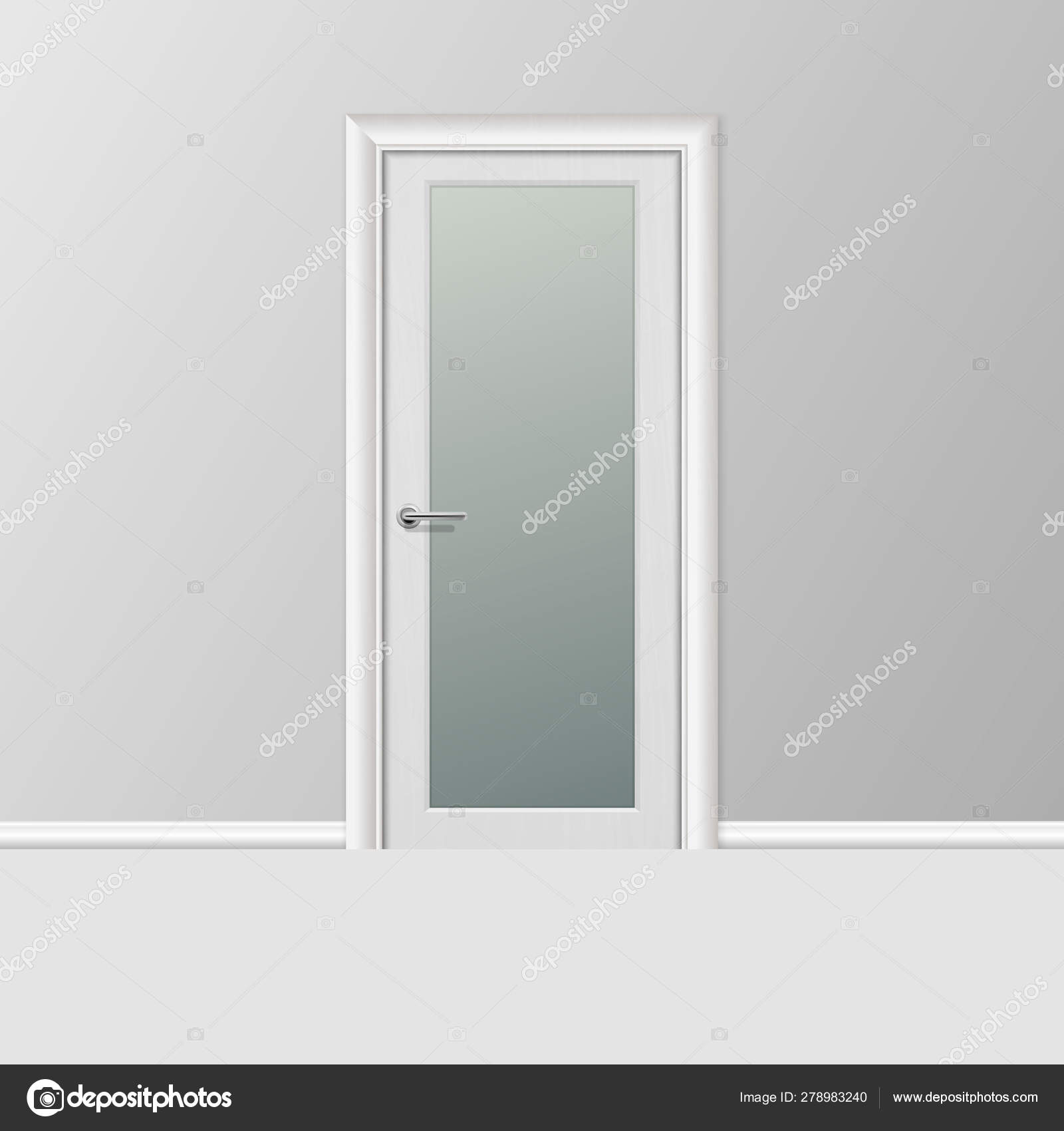 Vector Realistic 3d Simple Modern White Closed Door with