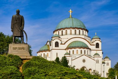 Saint Sava church, one of the world's biggest Orthodox Christian churches, and monument dedicated to Karadjordje, leader of 1st Serbian Uprising (1804-1813), Belgrade, Serbia