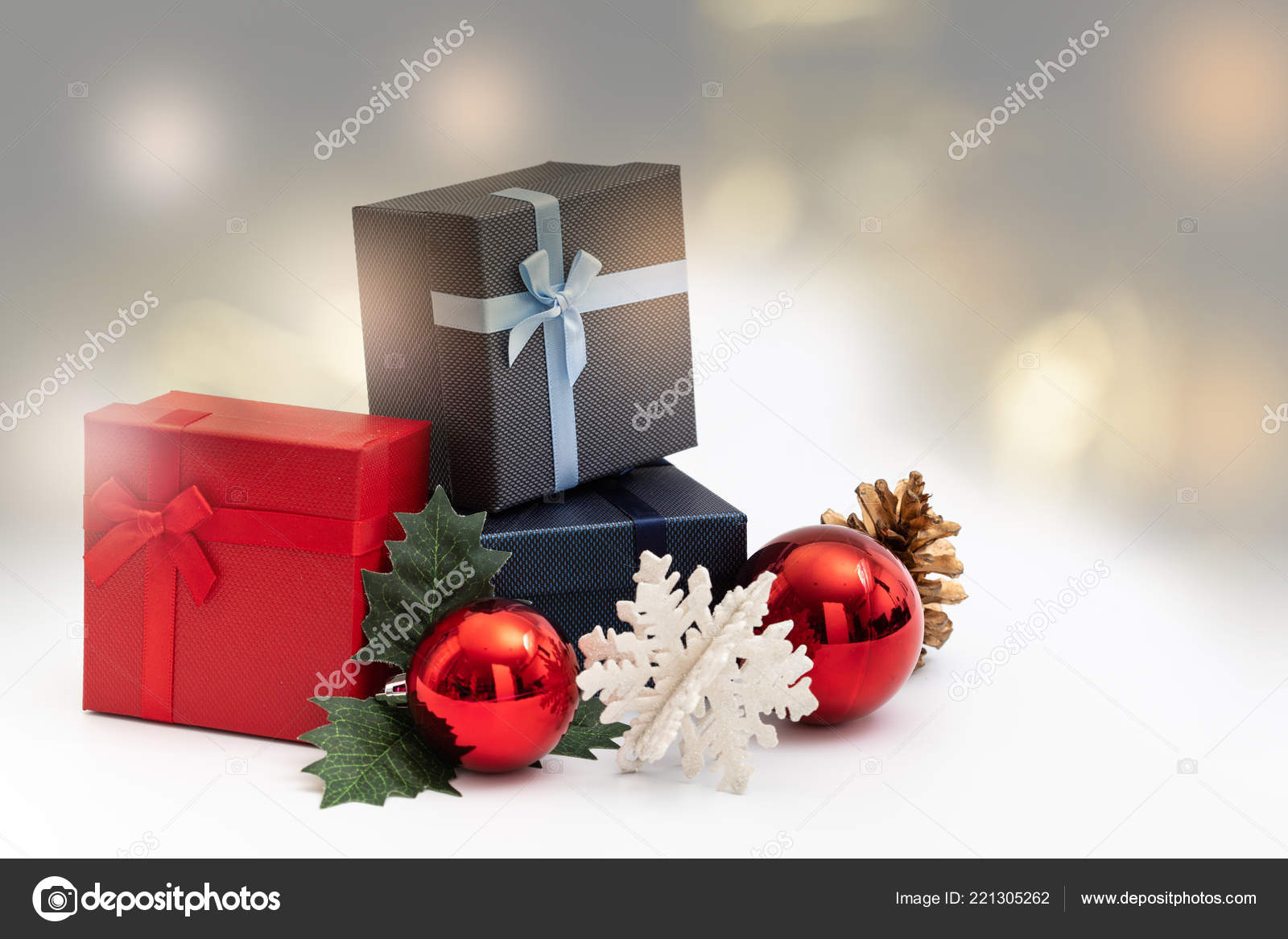 present box color ribbon white background christmas birthday special occassion stock photo
