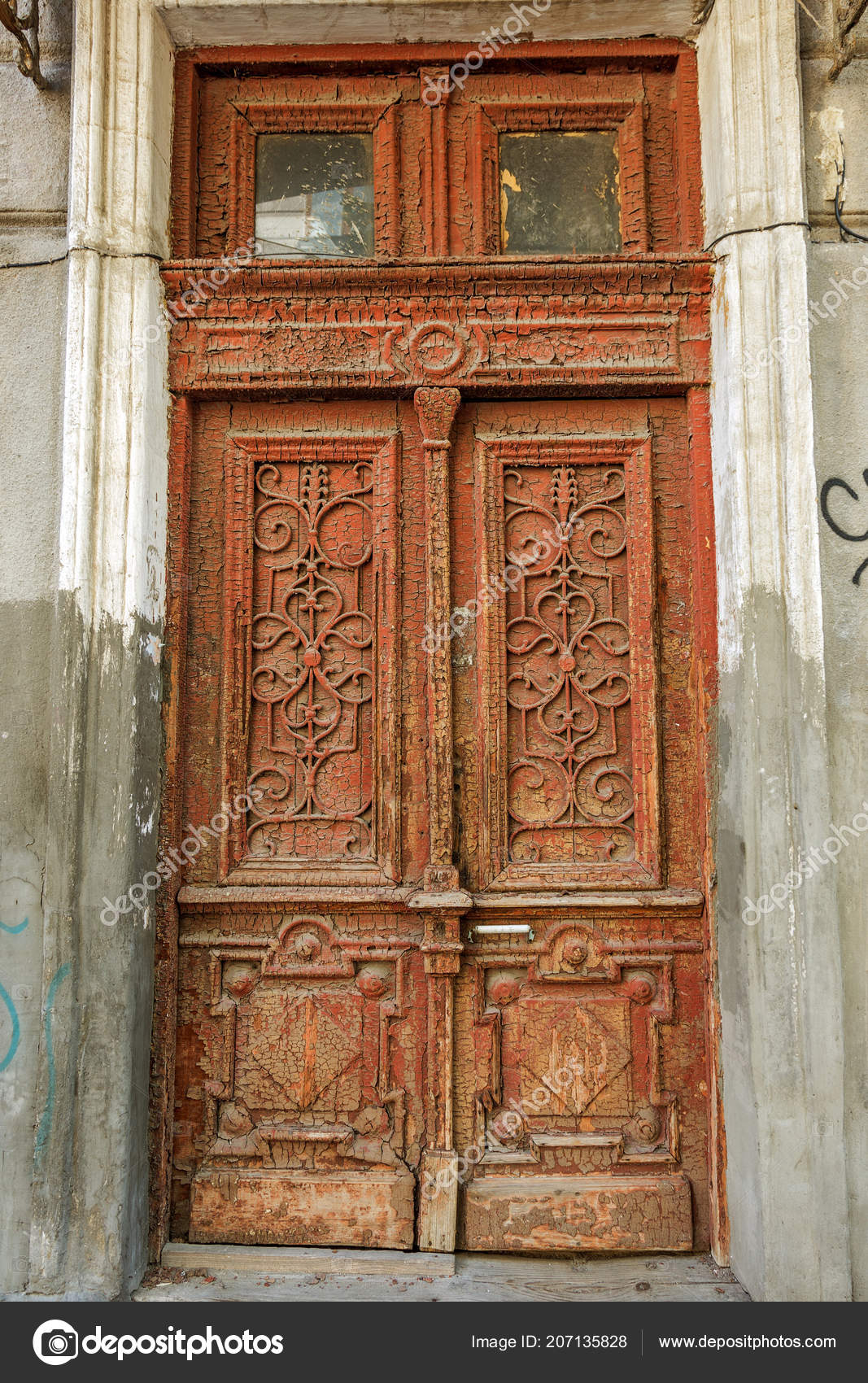 Una Vieja Madera Pintada Antigua Puerta Una Antigua Puerta Frente