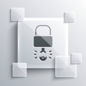 Šedý klíč se prolomil uvnitř ikony visacího zámku izolované na šedém pozadí. Značka Padlock. Zabezpečení, bezpečnost, ochrana, ochrana soukromí. Čtvercové sklo. Vektorová ilustrace