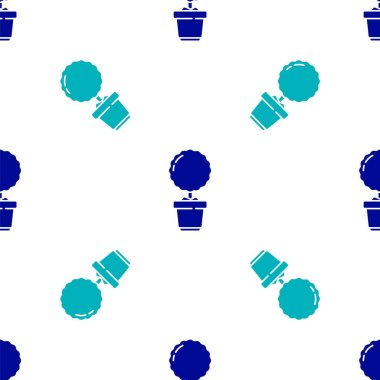 Blue Plant in pot icon isolated seamless pattern on white background. Plant growing in a pot. Potted plant sign.  Vector Illustration