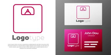 Logotype line Bathroom scales icon isolated on white background. Weight measure Equipment. Weight Scale fitness sport concept. Logo design template element. Vector Illustration