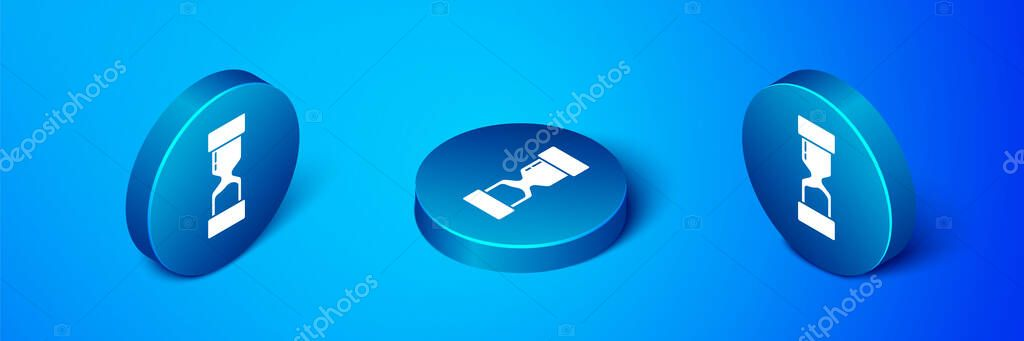 Isometric Old hourglass with flowing sand icon isolated on blue background. Sand clock sign. Business and time management concept. Blue circle button. Vector Illustration