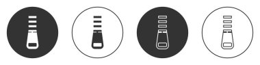 Black Zipper icon isolated on white background. Circle button. Vector Illustration.