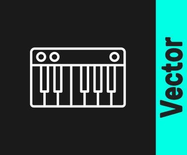 White line Music synthesizer icon isolated on black background. Electronic piano.  Vector Illustration.