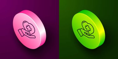 Isometric line Heart with a cross icon isolated on purple and green background. First aid. Healthcare, medical and pharmacy sign. Circle button. Vector Illustration.