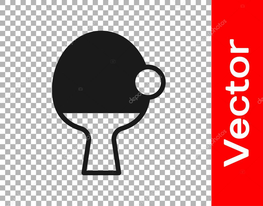 Black Racket for playing table tennis icon isolated on transparent background.  Vector.