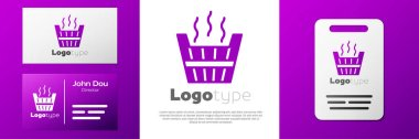 Logotype Sauna bucket icon isolated on white background. Logo design template element. Vector