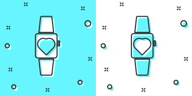 Black line Smartwatch icon isolated on green and white background. Random dynamic shapes. Vector.
