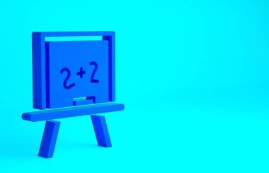 Blue Chalkboard icon isolated on blue background. School Blackboard sign. Minimalism concept. 3d illustration 3D render.