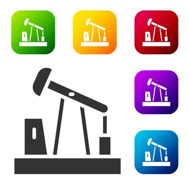 Black Oil pump or pump jack icon isolated on white background. Oil rig. Set icons in color square buttons. Vector